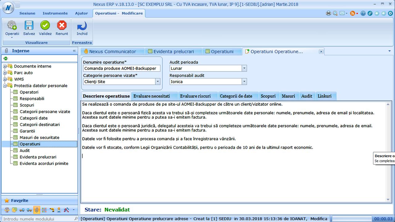 Nexus Protectia Datelor Personale Operatiuni de prelucrare